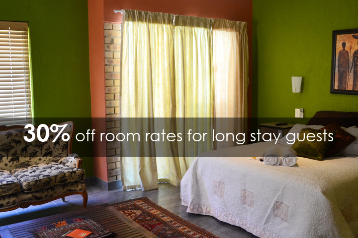 30% off room rates for our long stay guests